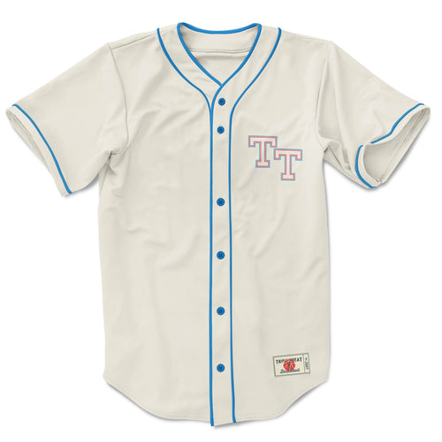 THROW BACK BASEBALL TOP - CREAM, BLUE & RED
