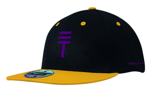 Triple Threat Snapback - Yellow/Purple/Black