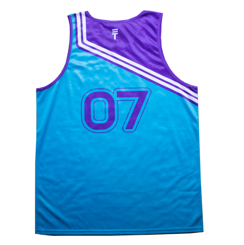 THROW BACK SINGLET - PURPLE & TEAL