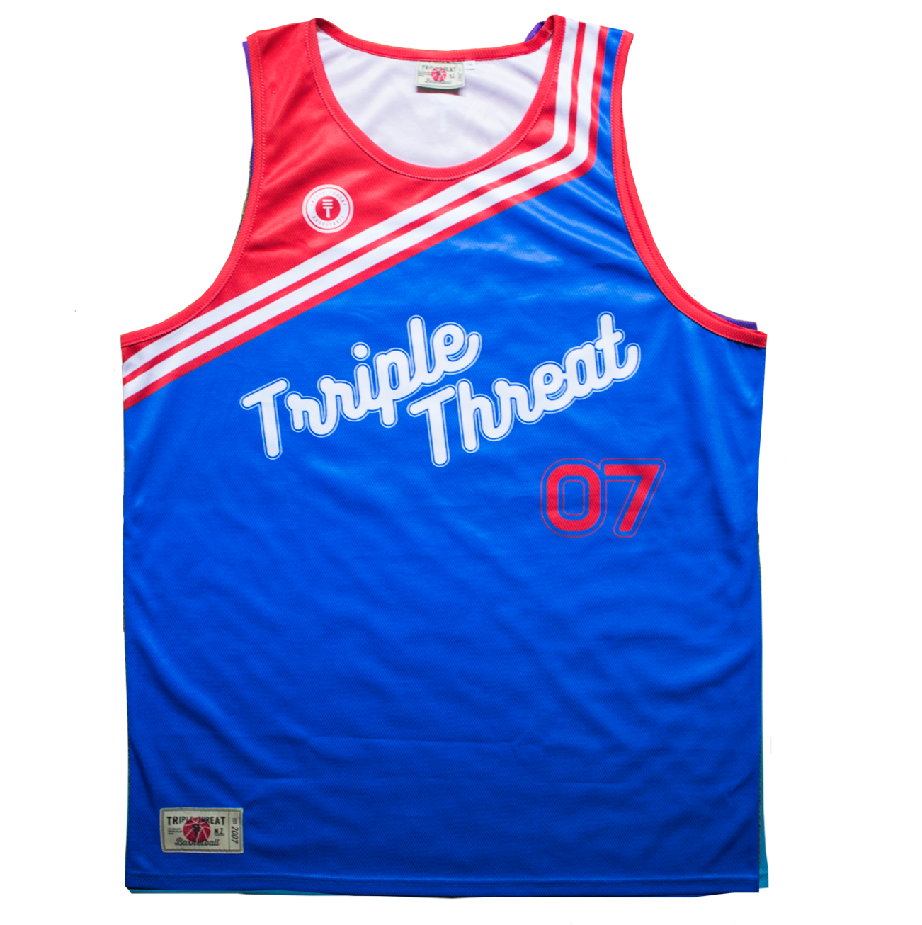 THROW BACK SINGLET - BLUE & RED
