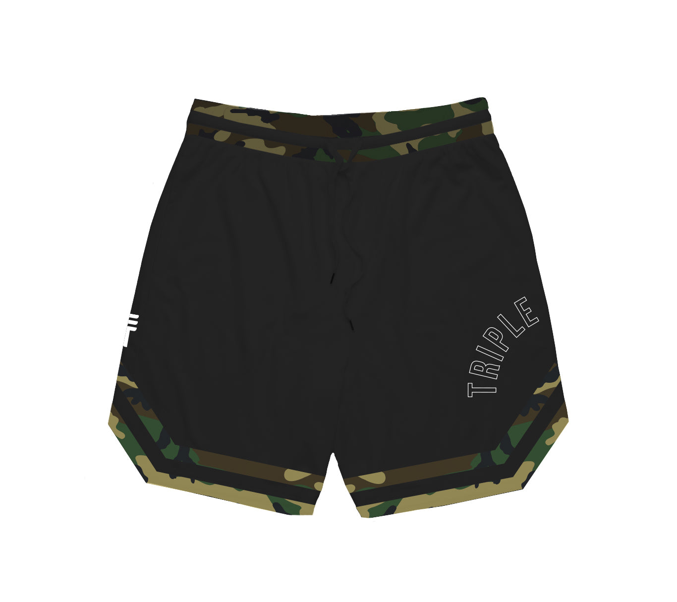 TRIPLE THREAT CAMO SHORTS - BLACK