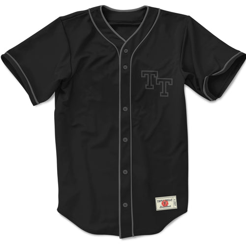 THROW BACK BASEBALL TOP - BLACK & GREY
