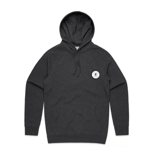 FUNDAMENTAL BADGE MID WEIGHT HOODIE - ASPHALT MARLE