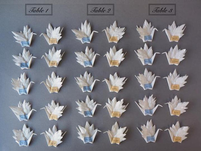 ORIGAMI CRANE WEDDING TABLE NAME HOLDERS