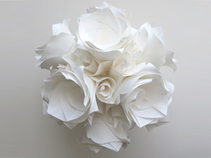 white origami rose versailles ball, designed by Krystyna Burczyk. Wedding decoration or table centrepiece.