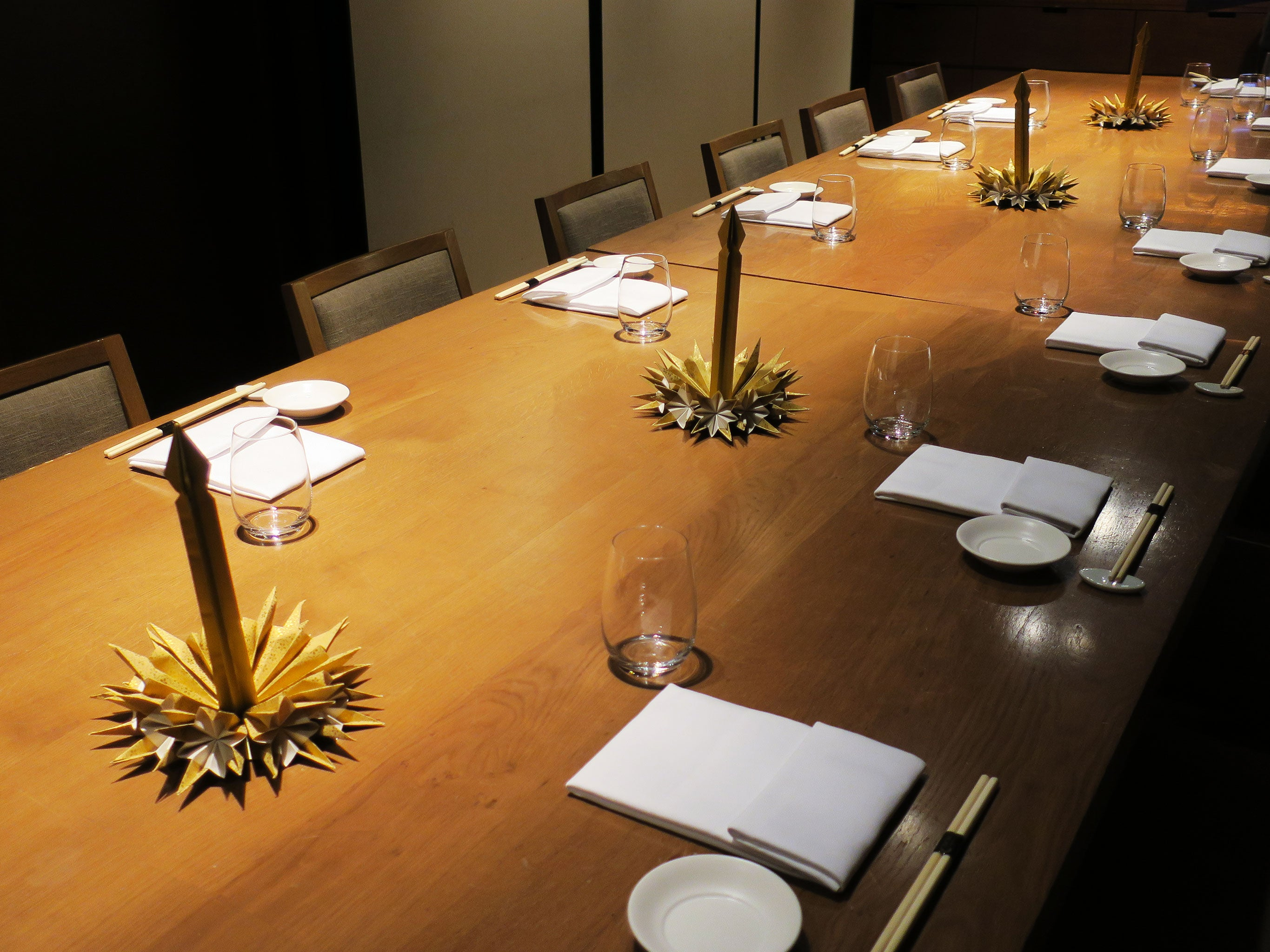 Origami Candles Table decoration for Christmas Business Dinner at Nobu Hotel in East London