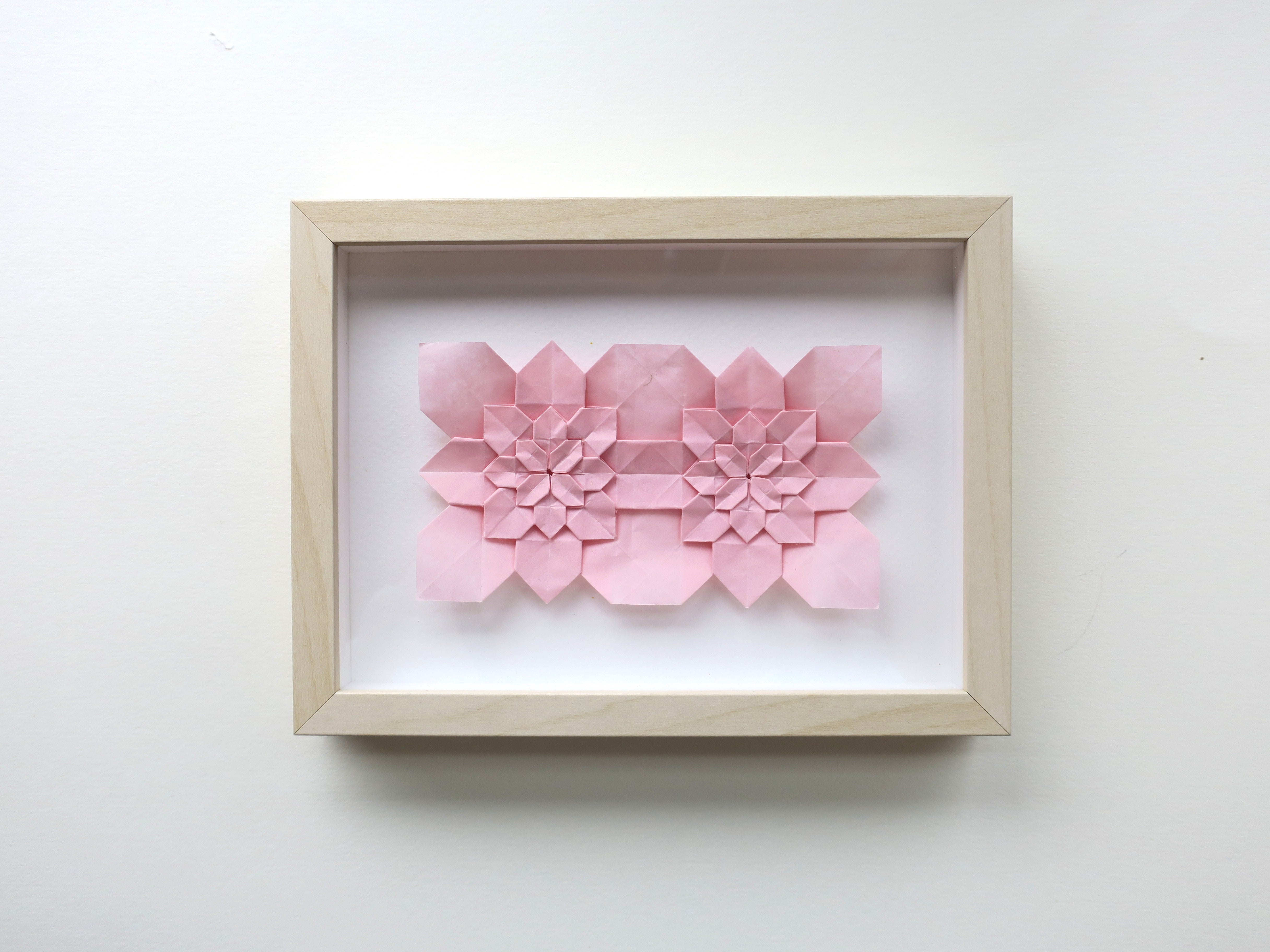 framed origami hydrangea wall decoration, handmade gift, wedding, anniversary