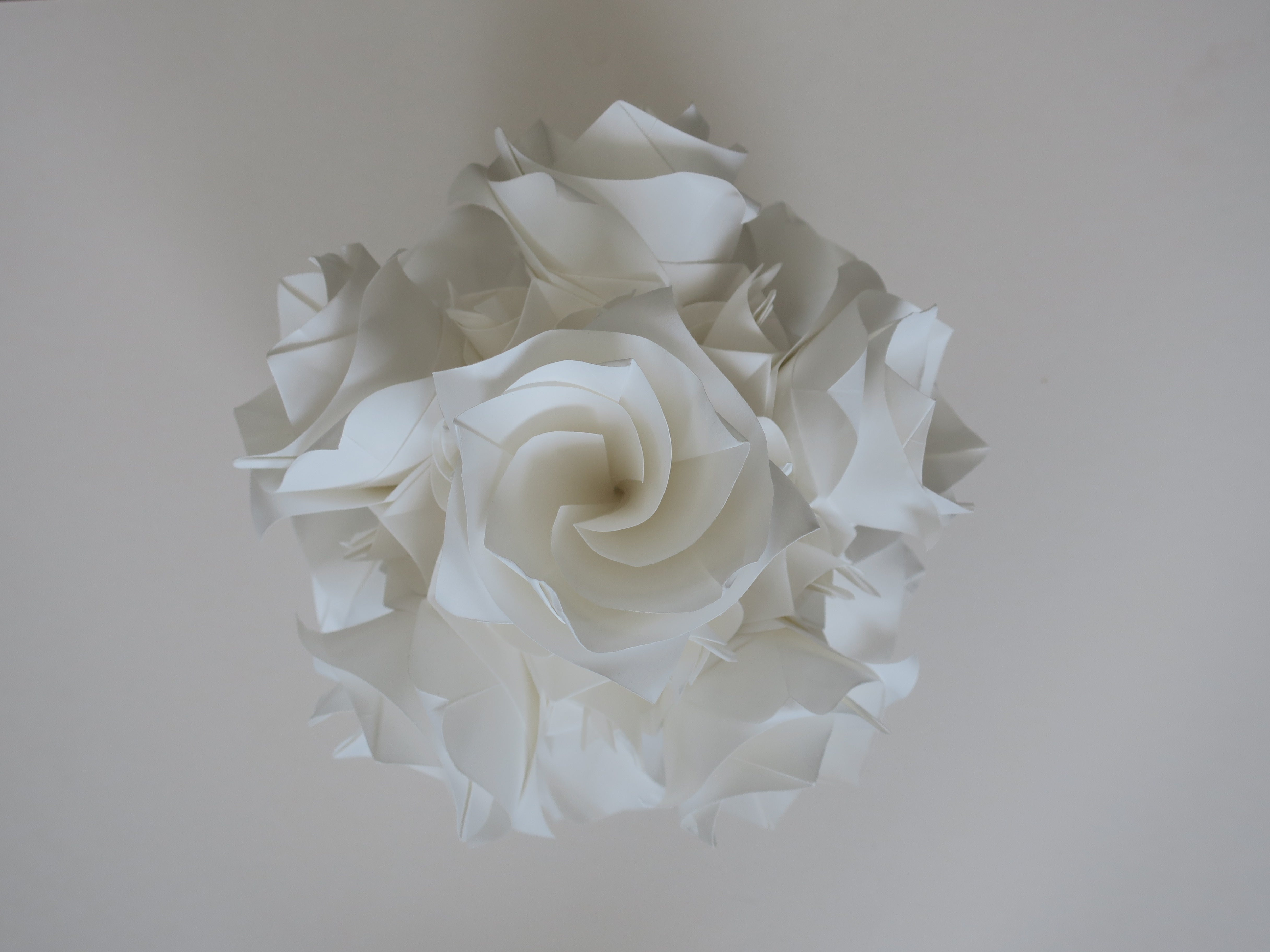 elegant origami white rose flower ball, wedding and anniversary, party event, window display