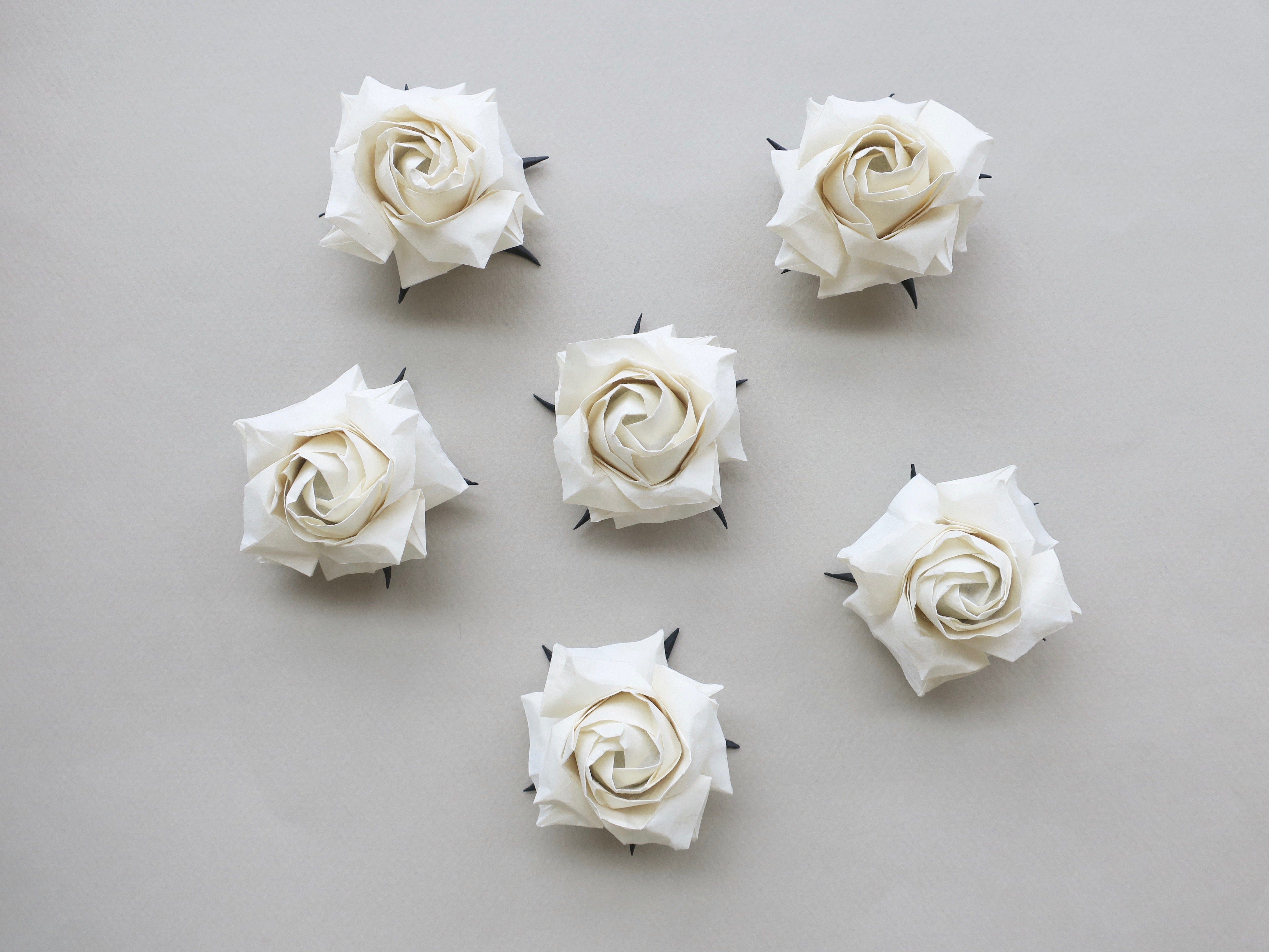 elegant origami white rose flower, wedding and anniversary, party event, window display