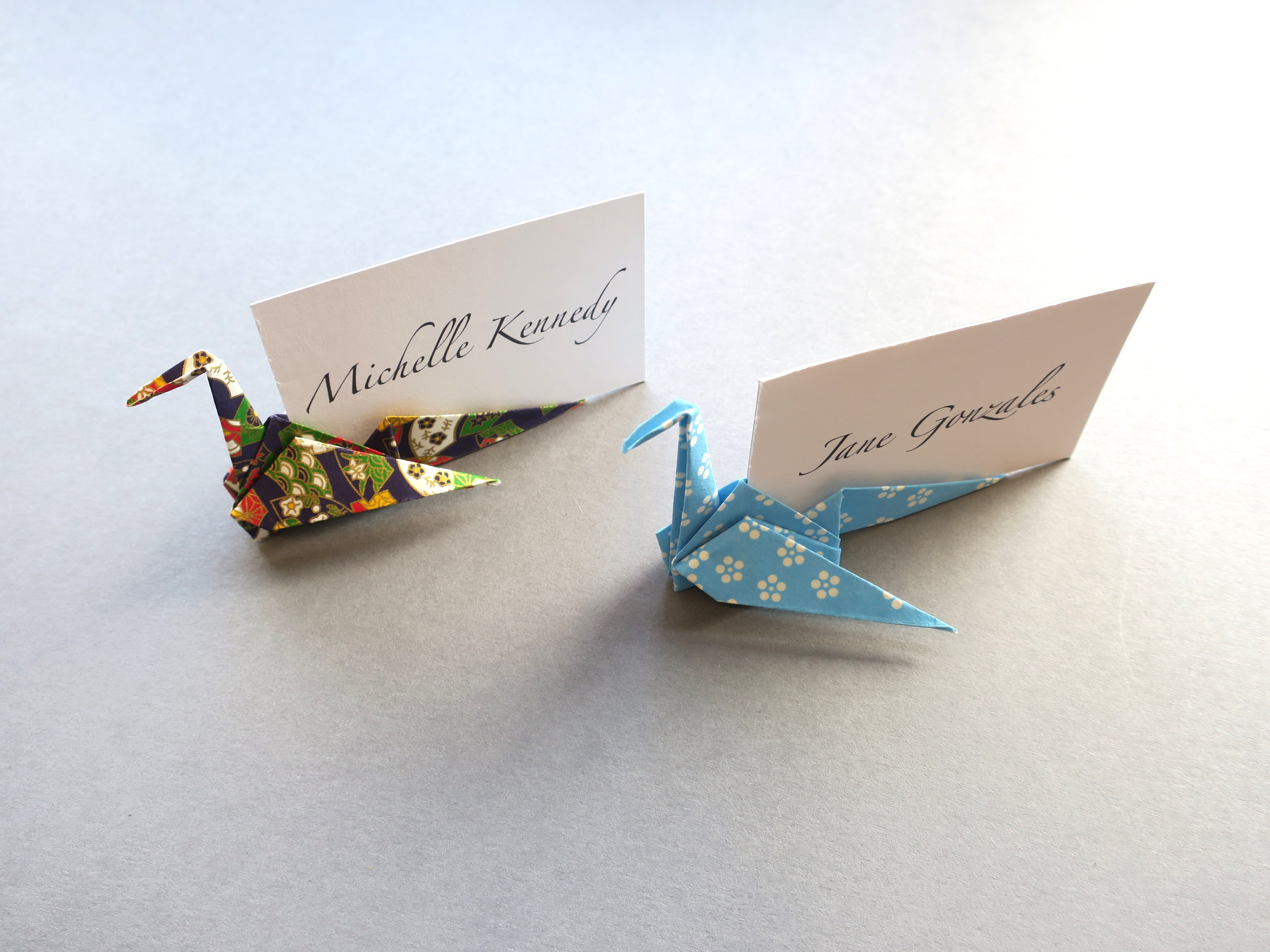 origami crane place card for wedding and event