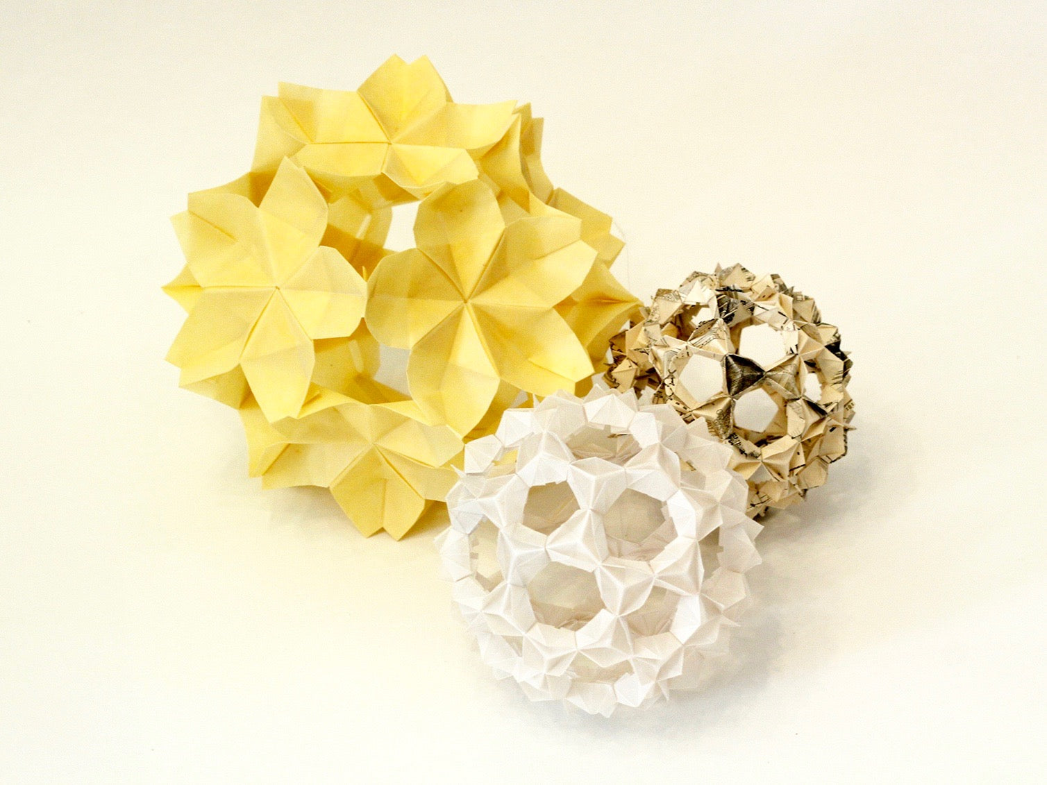 modular origami decorations, sakura kusudama, bucky ball, for wedding, party, event