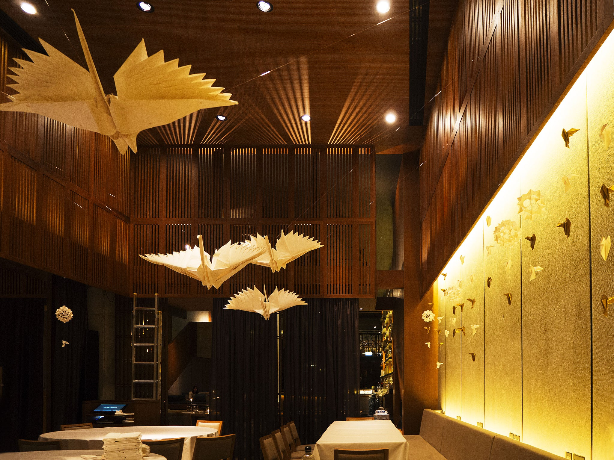 BESPOKE ORIGAMI feathered crane paper art installation