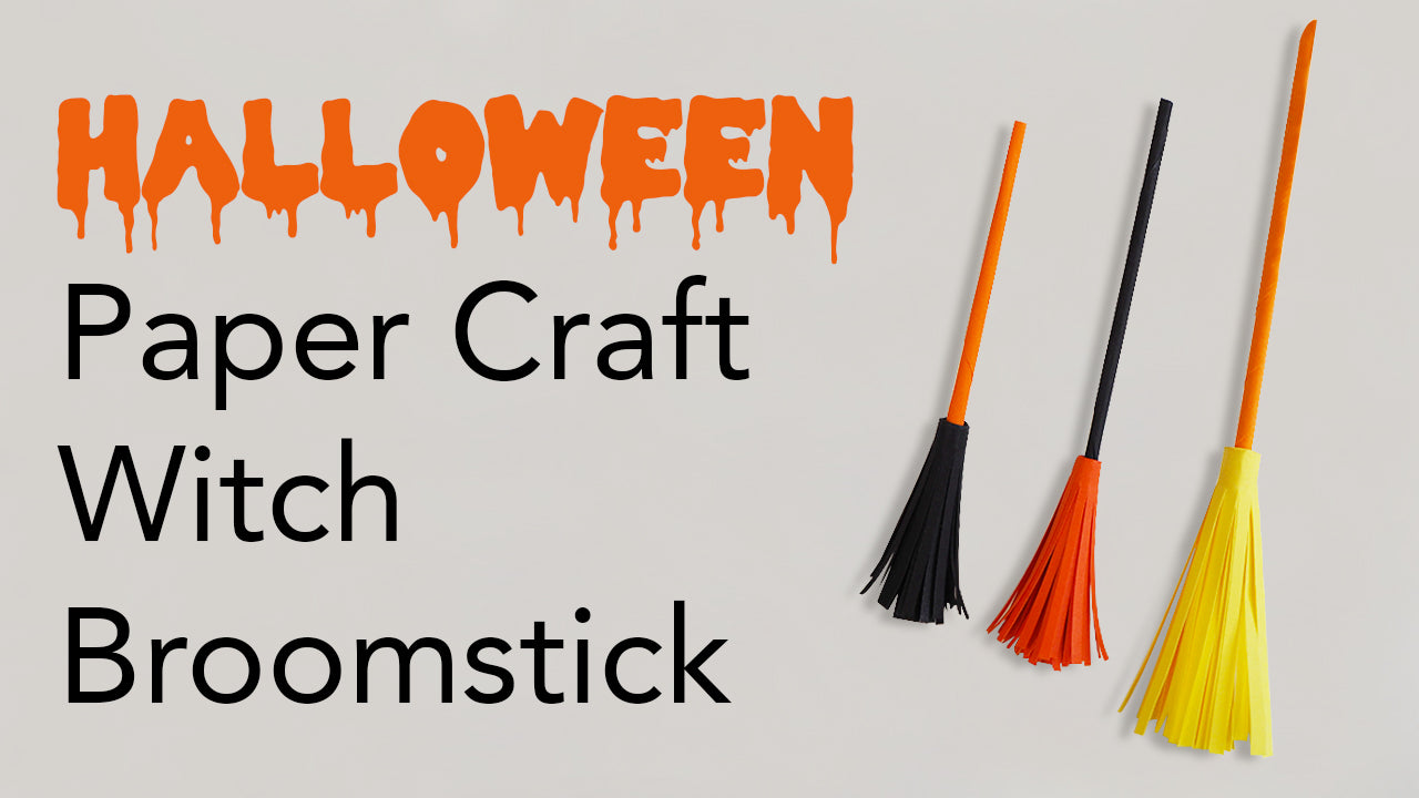 Easy Kids Halloween Paper Craft Witch Broomstick Tutorial