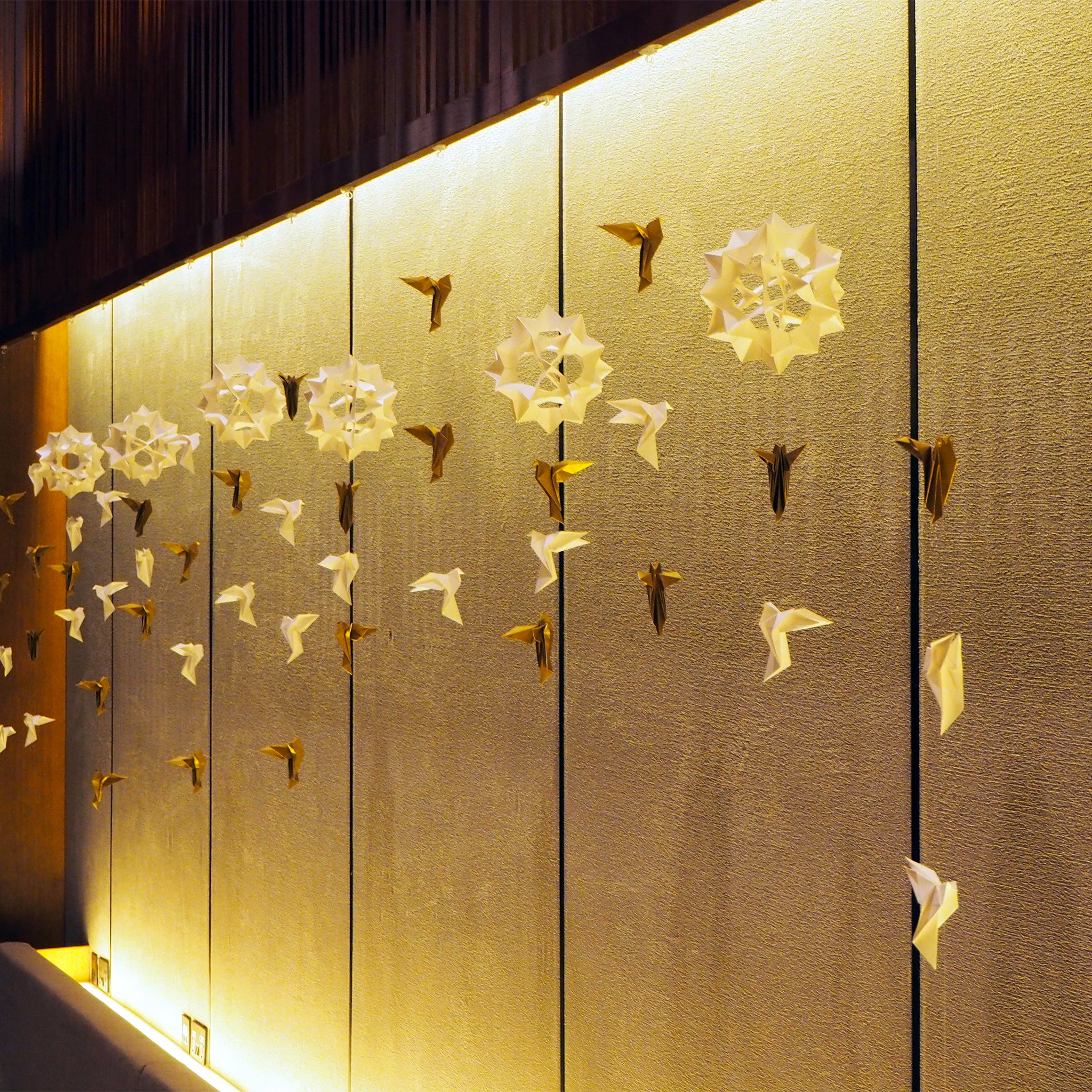 Bespoke hanging origami decoration for business event held at Japanese Hotel in East London paper art installation
