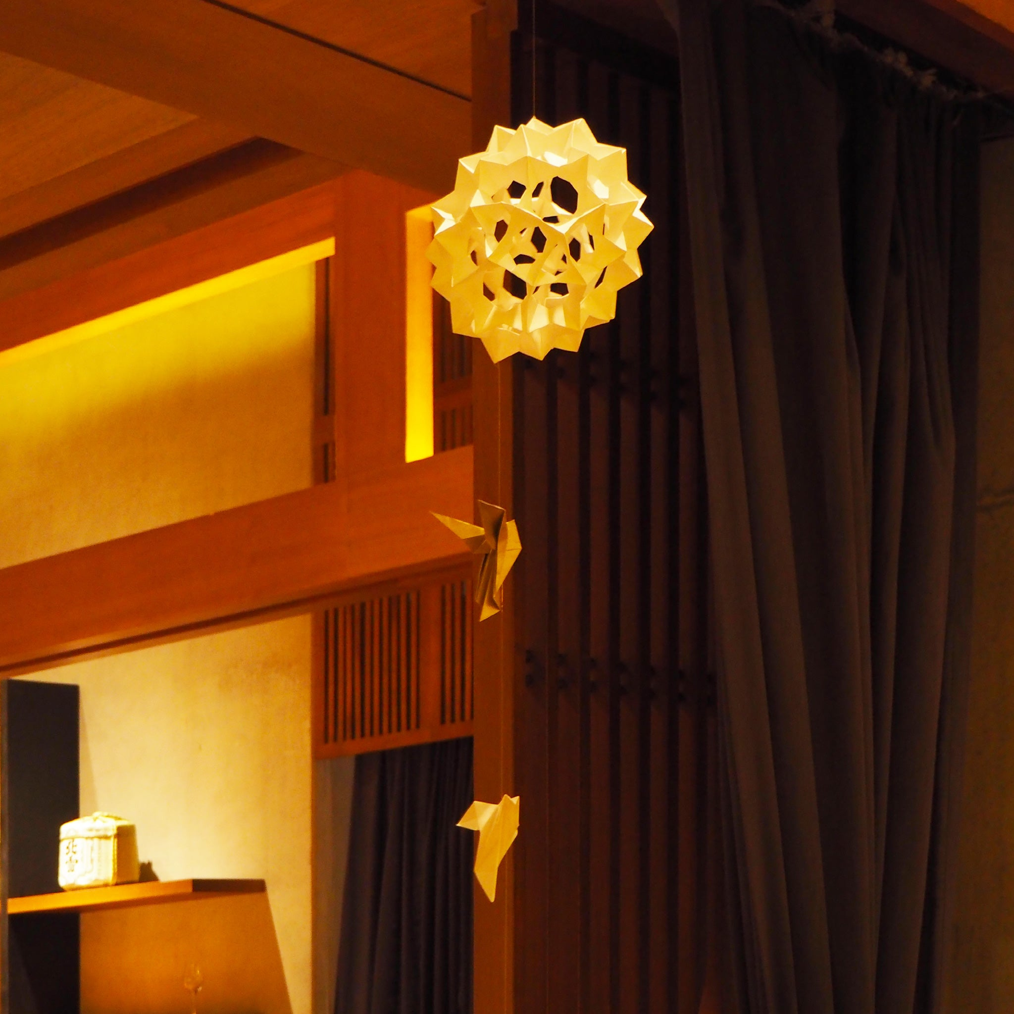 Bespoke hanging origami decoration for business event held at Japanese Hotel in East London.