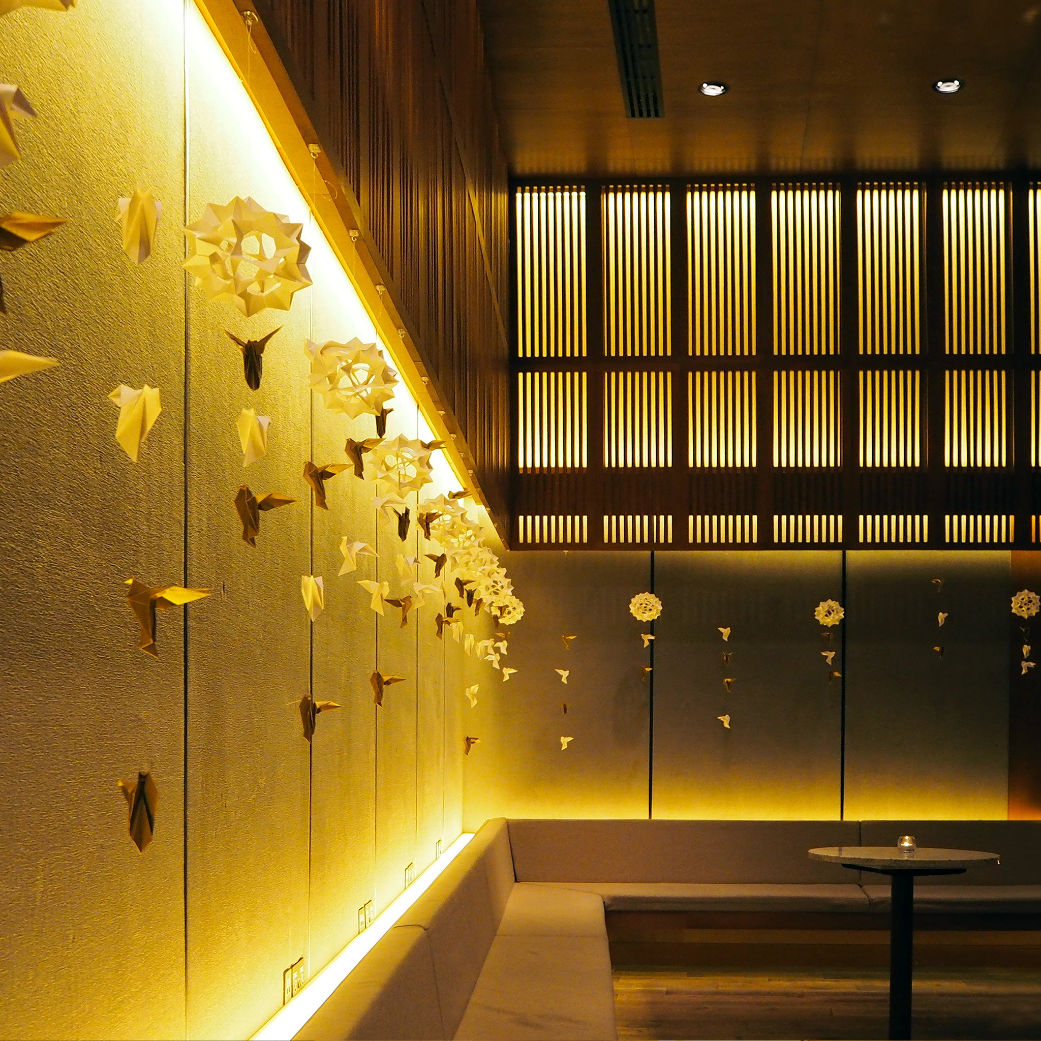 Bespoke hanging origami decoration for business event held at Japanese Hotel in East London