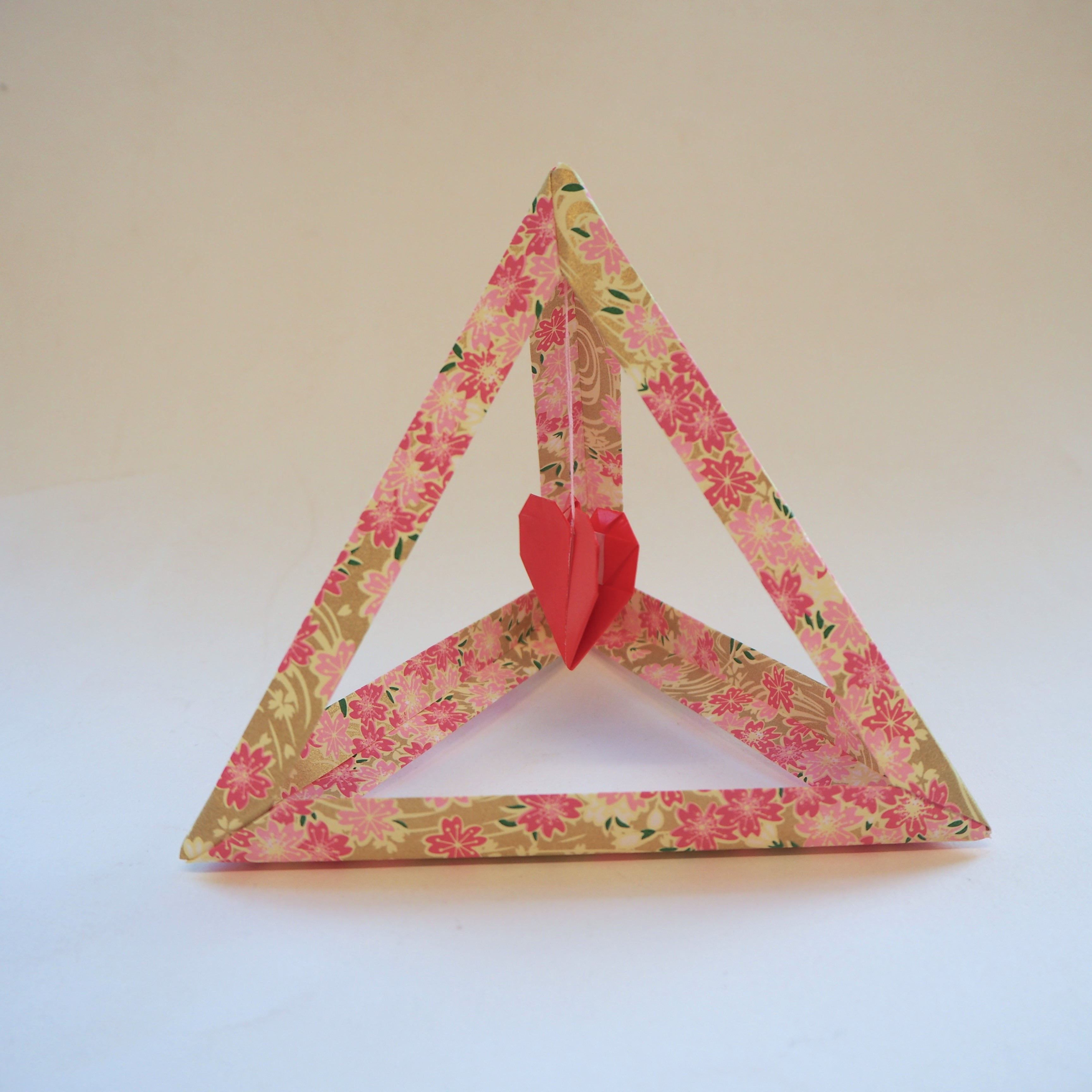 origami tetrahedron heart, valentines day gift, decoration