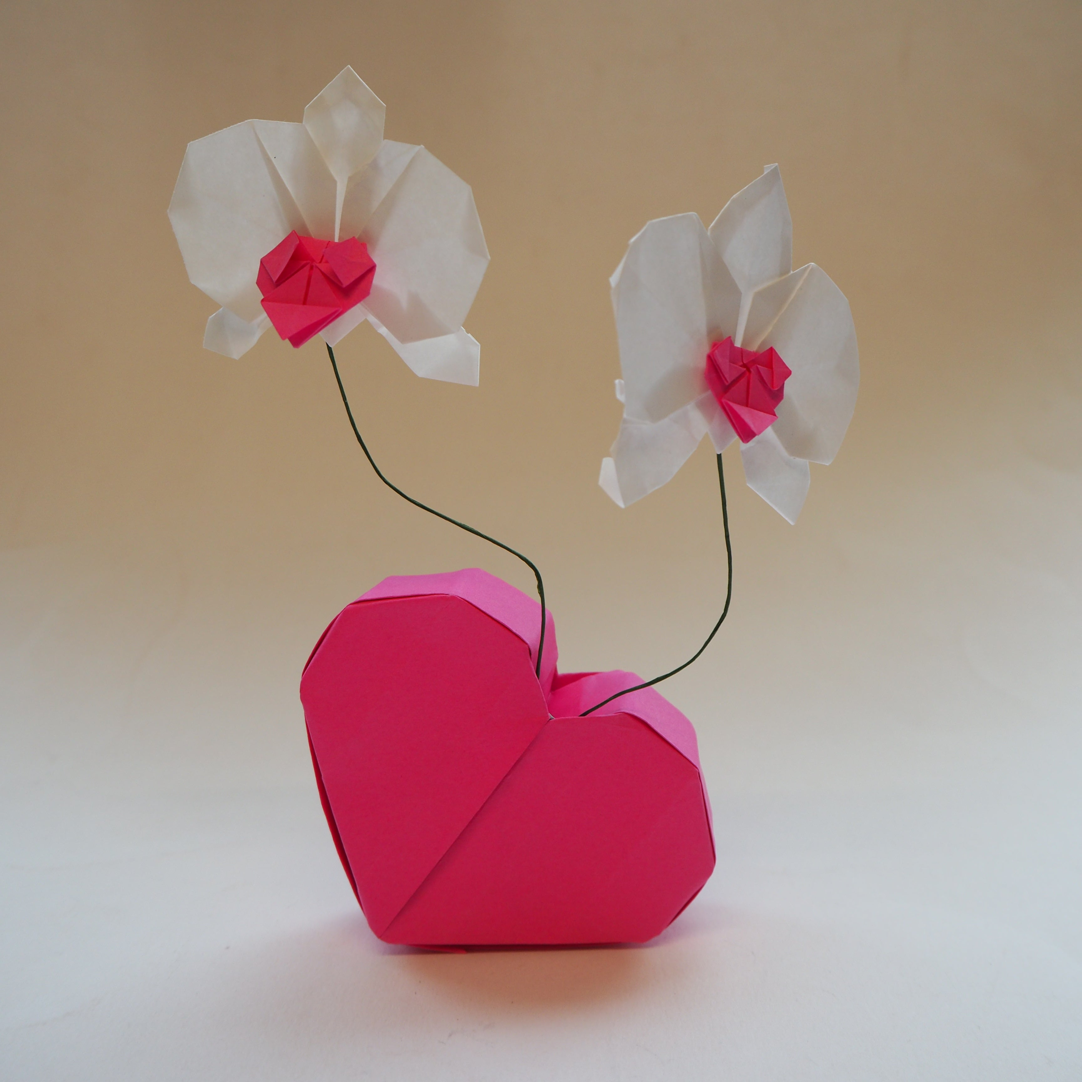 origami orchid flower heart jewellery box