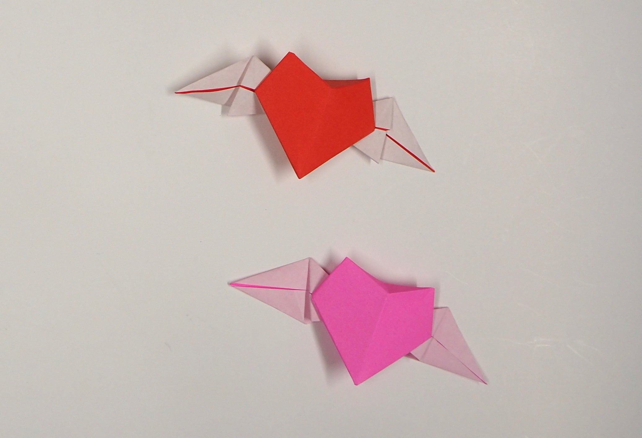 origami heart with wings, valentines day gift, decoration