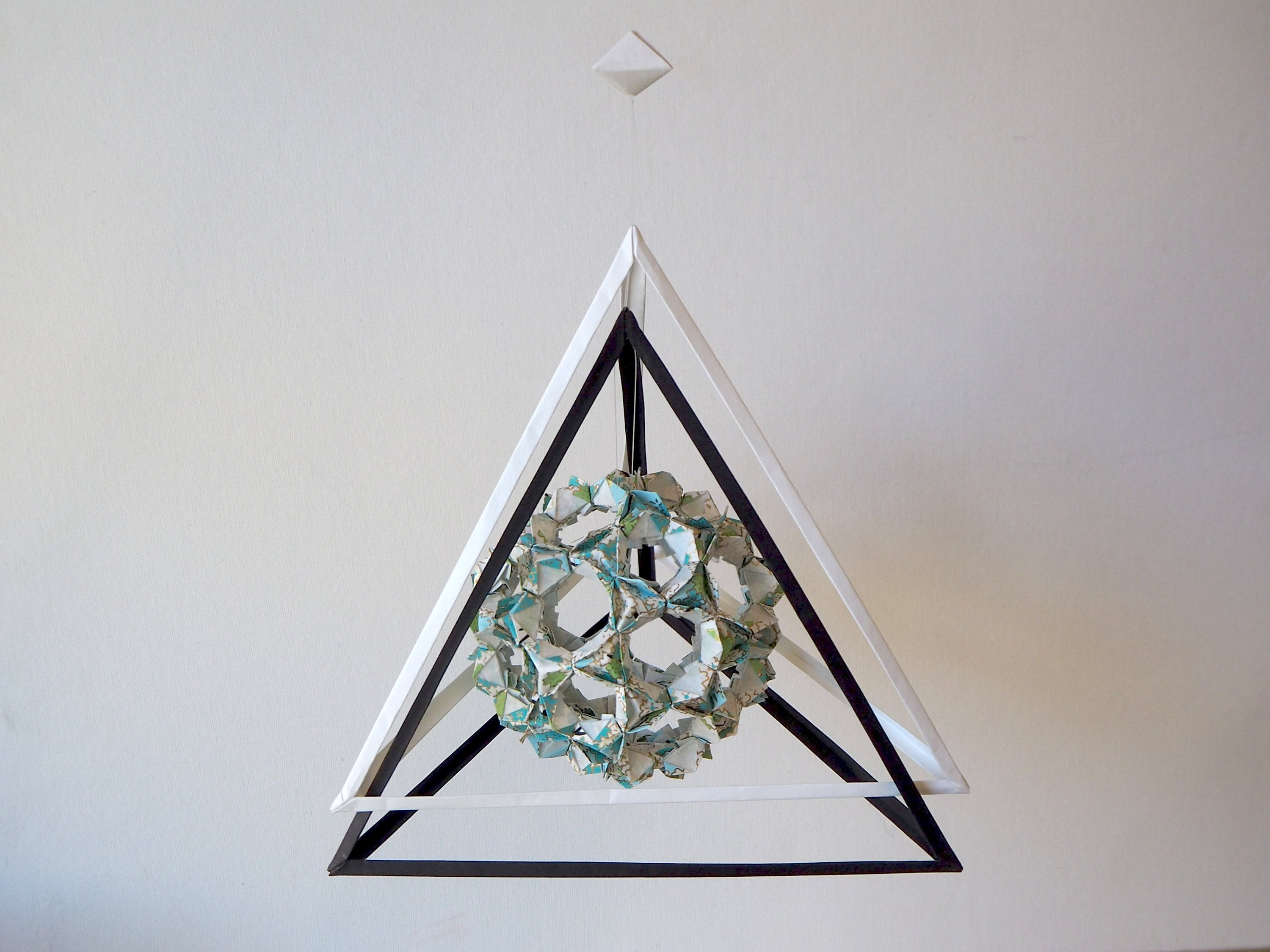 origami bucky ball pyramid mobile, room decoration