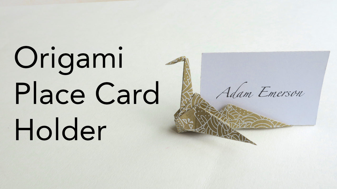 origami crane swan place card holder