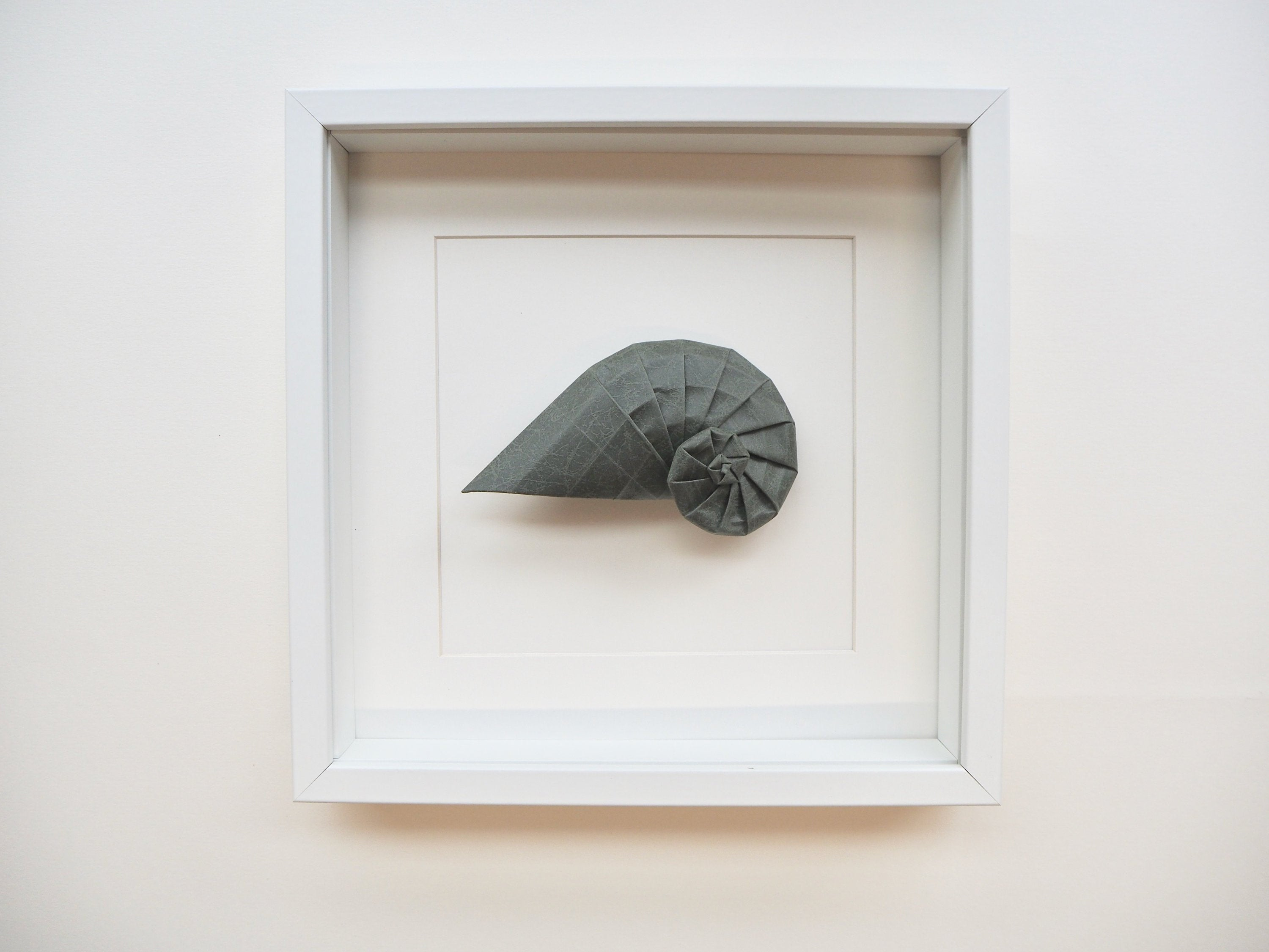 framed origami navel shell, wall decoration, handmade gift