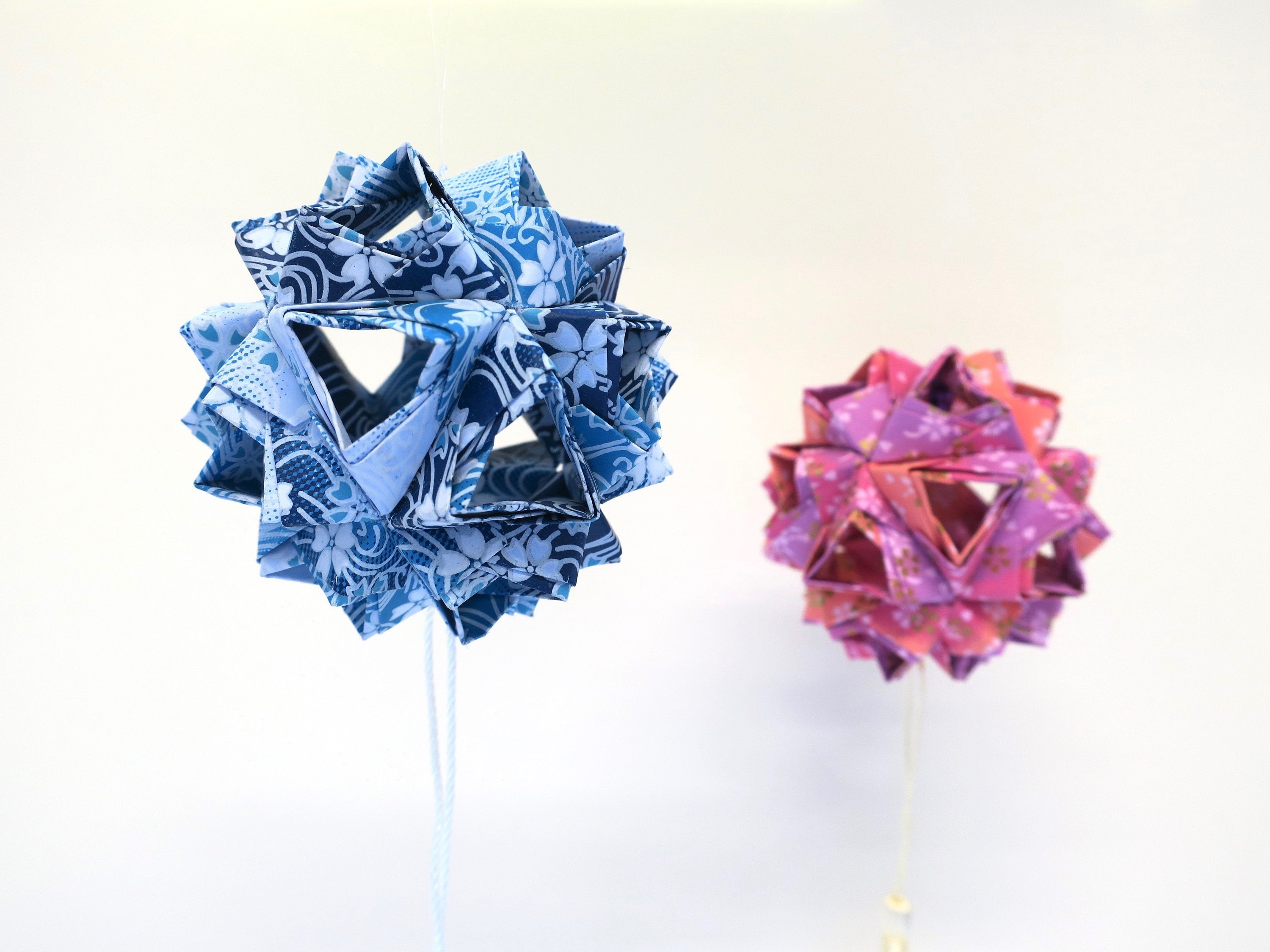 origami little island kusudama, wedding party event decoration, paper installation