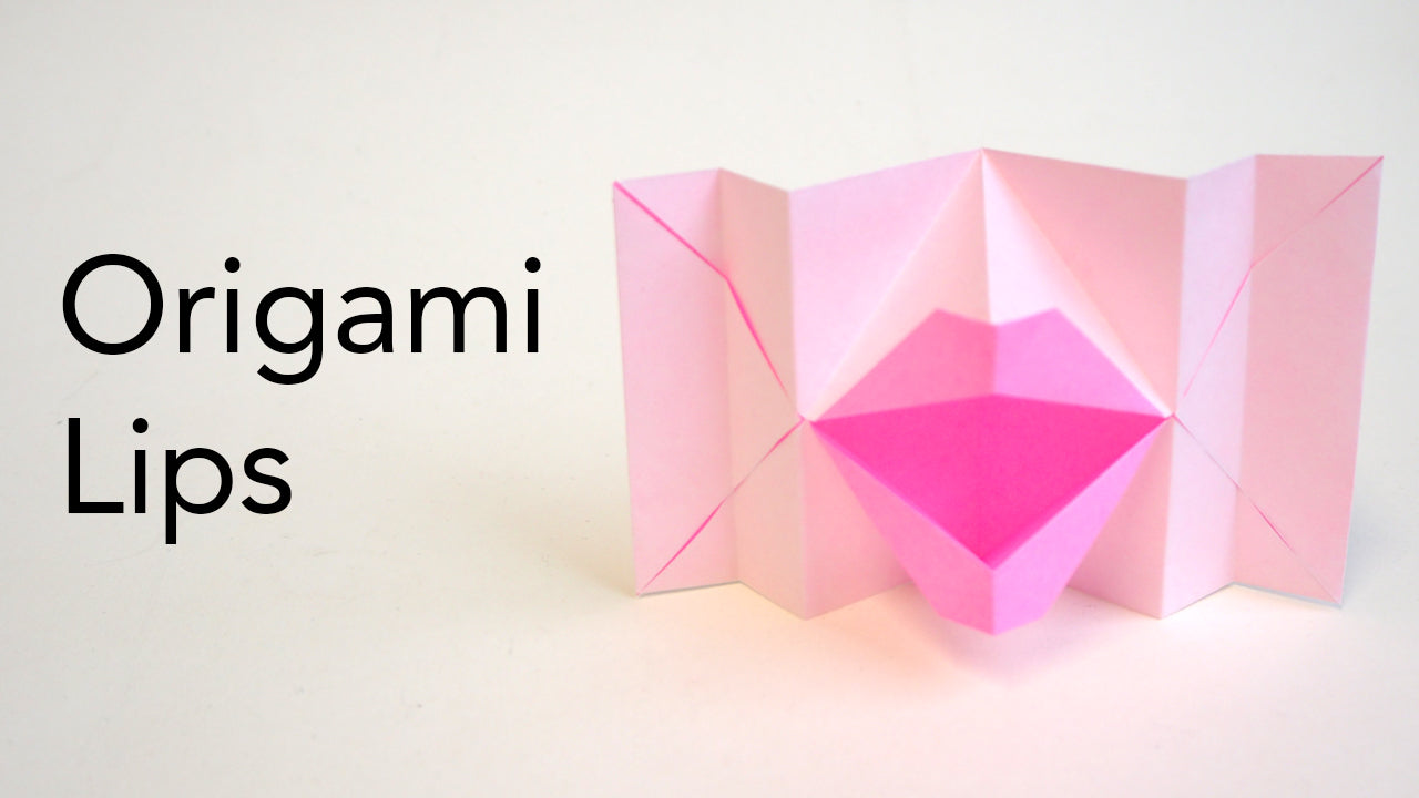 tutorial for origami kissing talking lips for valentine's day