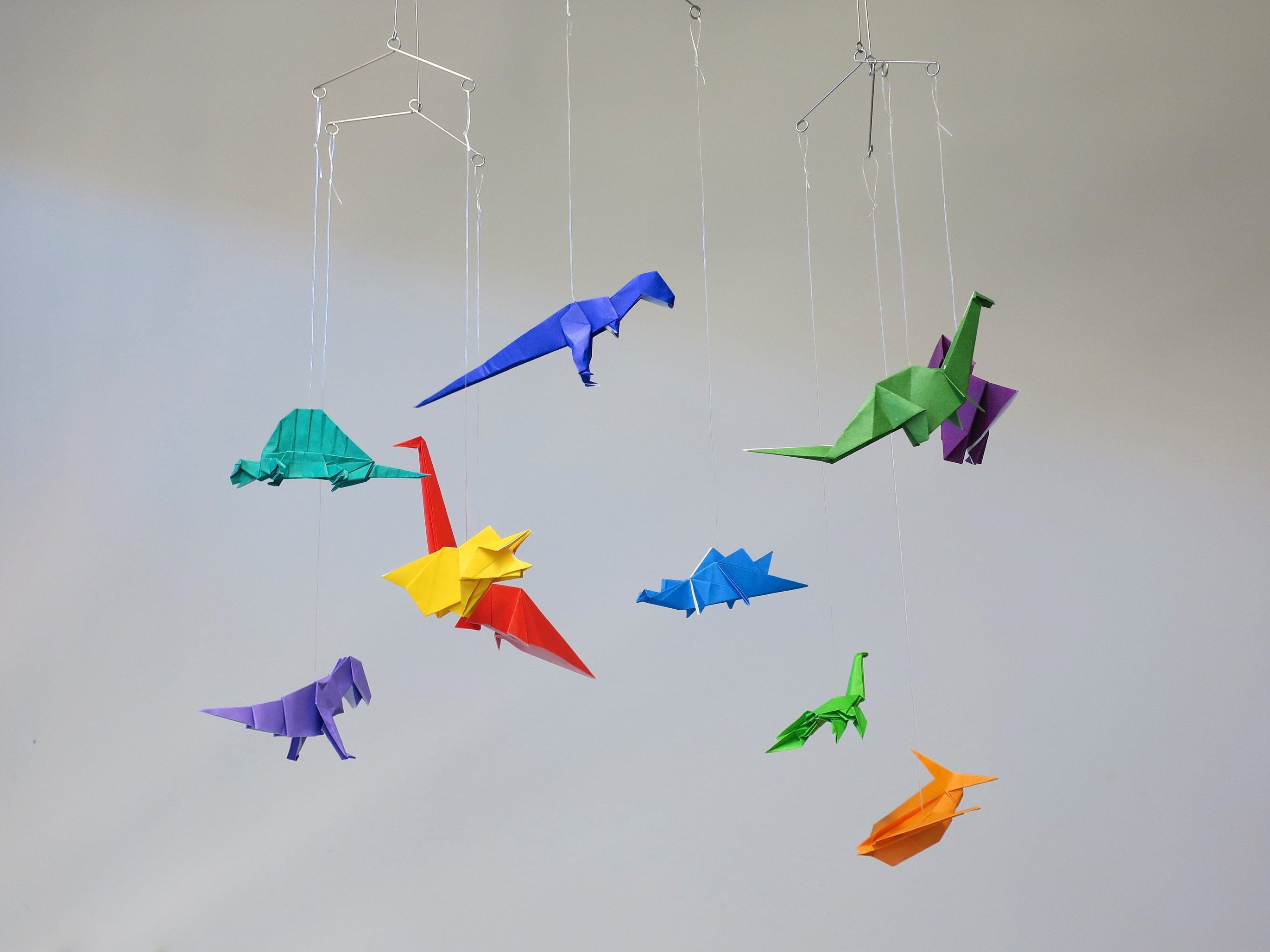 origami dinosaurs mobile, kids room decoration, new baby gift