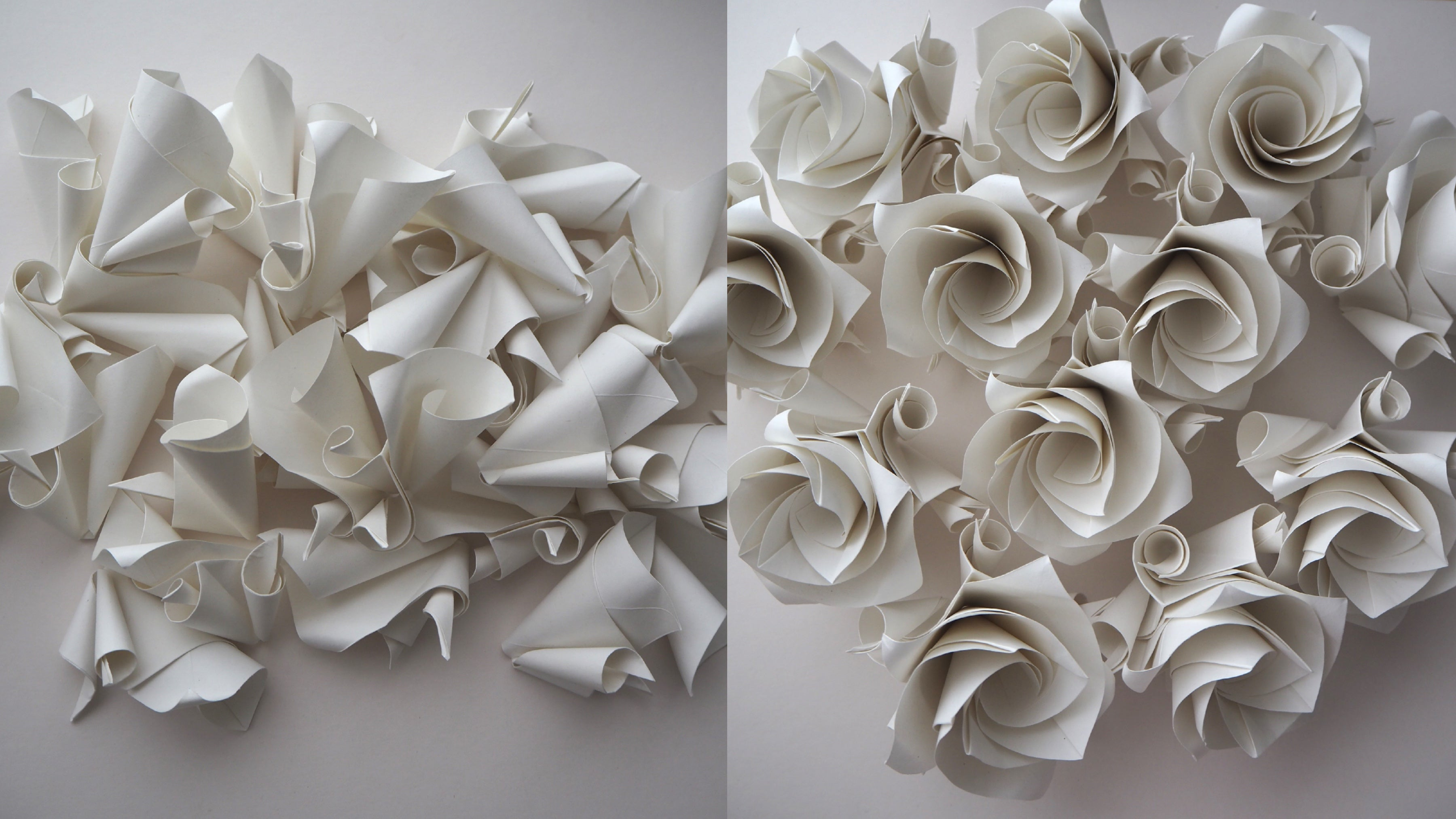 handmade white origami rose versailles wedding favours and decorations