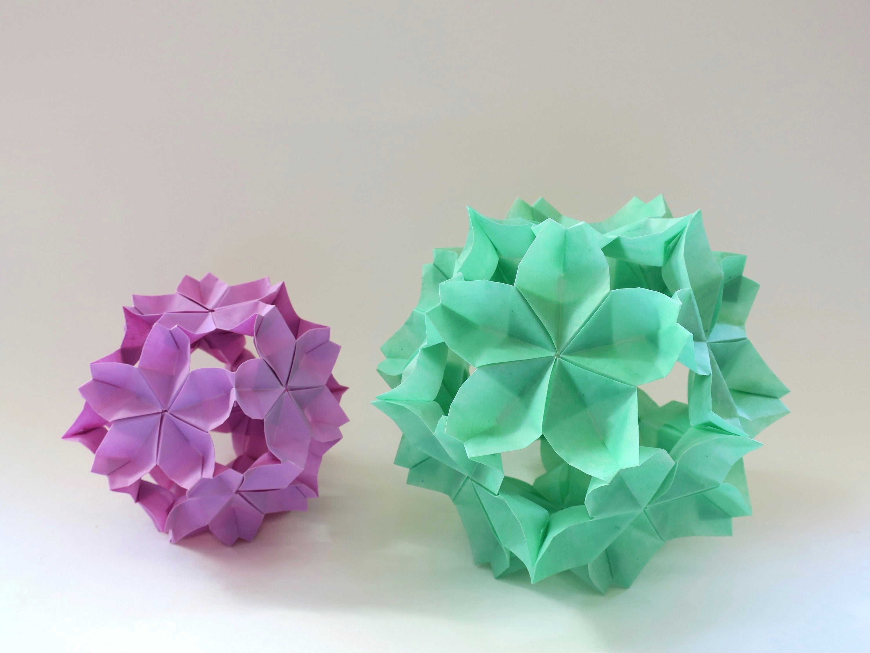 origami sakura kusudama, wedding party event decoration, paper installation