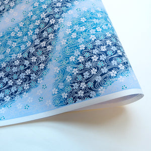 Yuzen Washi Wrapping Paper HZ-005-2 - Cherry Blossom Flowing Blue Water - washi paper - Lavender Home London