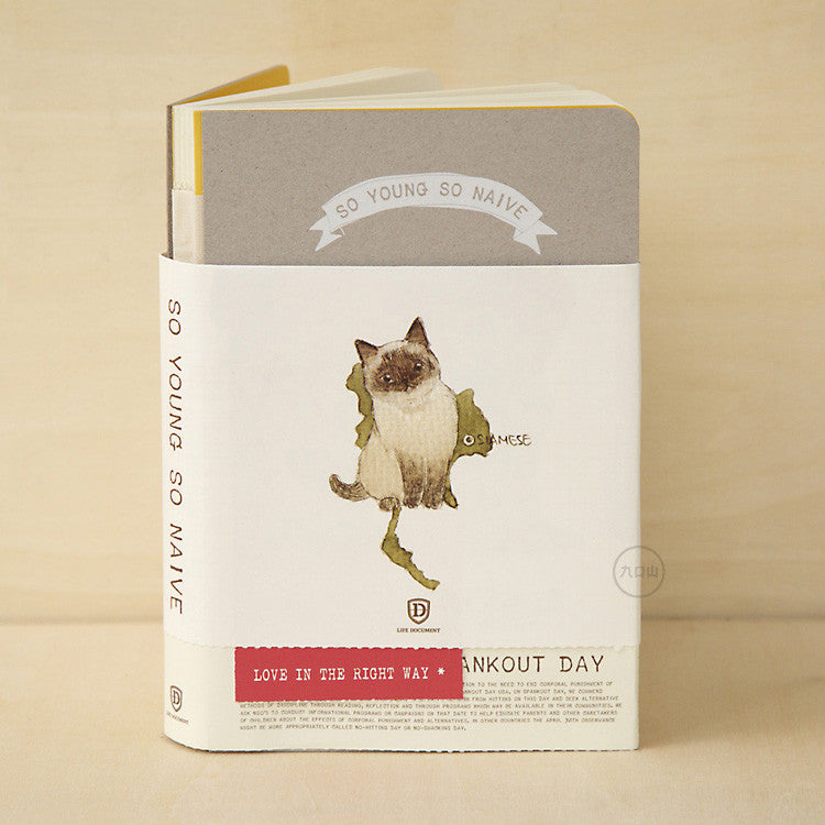 So Young So Naive Notebook - Siamese Cat - Stationery - Lavender Home London