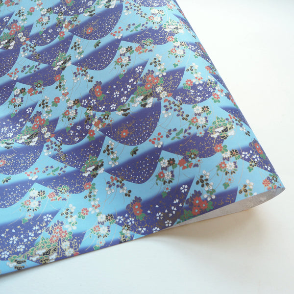 Yuzen Washi Wrapping Paper HZ-058 - Flower Mountain Blue - washi paper - Lavender Home London