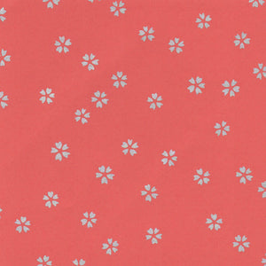 Pack of 20 Sheets 14x14cm Yuzen Washi Origami Paper HZ-108 - Small Silver Cherry Blossom Brown Red - washi paper - Lavender Home London