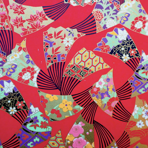 Yuzen Washi Wrapping Paper HZ-253 - Fans Red - washi paper - Lavender Home London