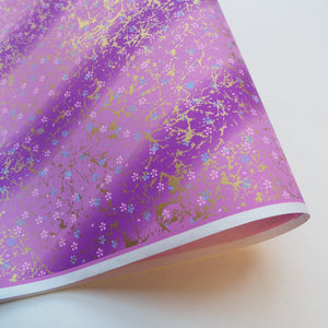 Yuzen Washi Wrapping Paper HZ-279 - Small Cherry Blossom Purple Gradation - washi paper - Lavender Home London