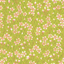 Yuzen Washi Wrapping Paper HZ-379 - Pink Cherry Blossom Matcha