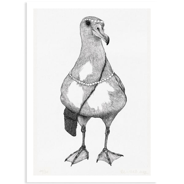 Animal Series Floating Zoo Art Print No.05 - Albatross Carries The Package - Print - Lavender Home London