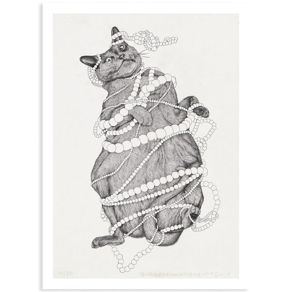 Cat and Pearls Detailed Drawing Print