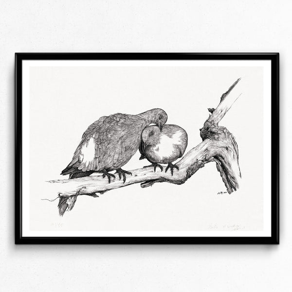 Animal Series Floating Zoo Art Print No.03 - Lovebirds - Print - Lavender Home London