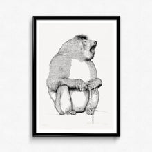 Animal Baboon Detailed Drawing print