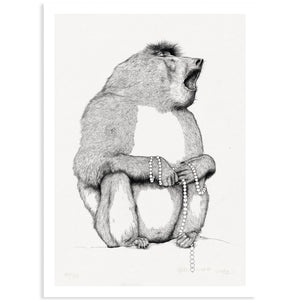 Animal Series Floating Zoo Art Print No.13 - Singing Baboon - Print - Lavender Home London