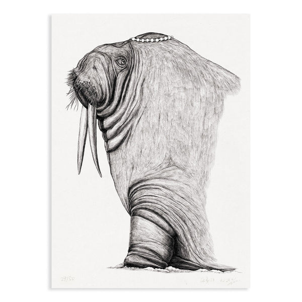 Animal Series Floating Zoo Art Print No.06 - The Princess Walrus - Print - Lavender Home London