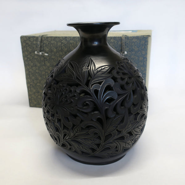 Traditional Chinese Handcrafted Black Clay - Flowers - Homeware - Lavender Home London
