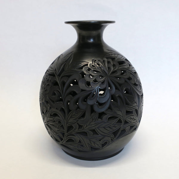 Traditional Chinese Handcrafted Black Clay - Flowers