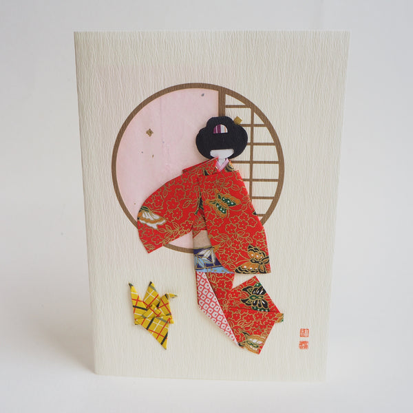 Handmade Origami Geisha Doll with Crane Greeting Card - Cards - Lavender Home London