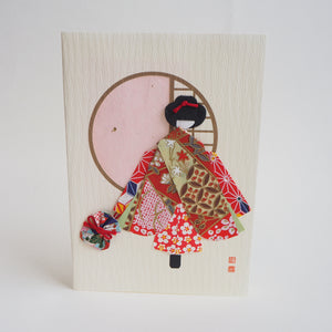 Handmade Origami Geisha Doll with Bag Greeting Card - Cards - Lavender Home London