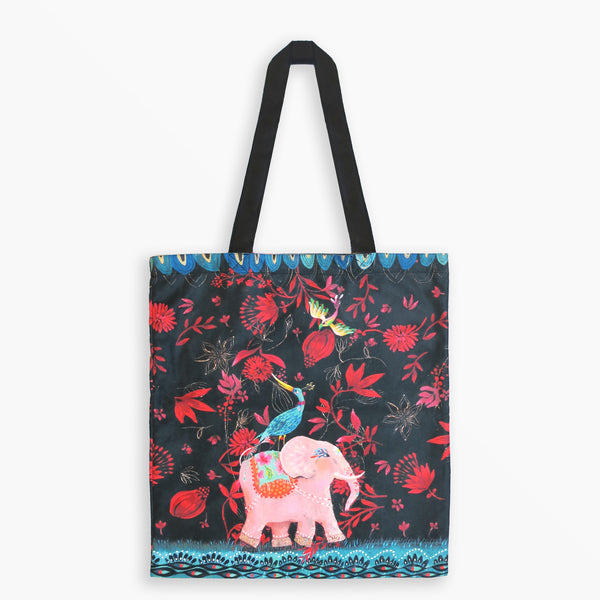 Tote Bag - Blue Bird and Pink Elephant Illustration by Izou - Tote Bags - Lavender Home London