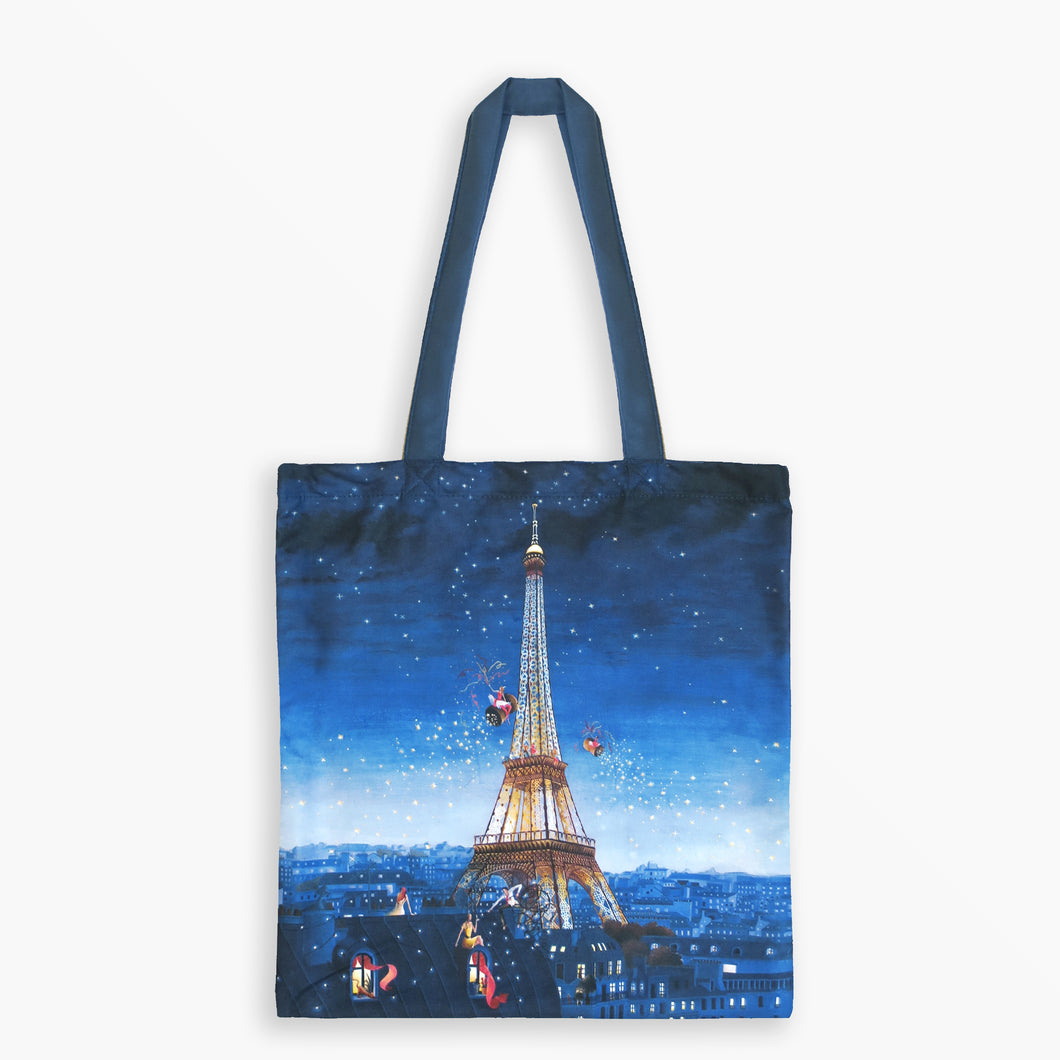 Tote Bag - Eiffel Tower at Night by Marie-Anne Foucart - Tote Bags - Lavender Home London